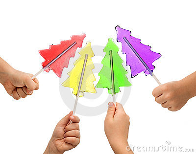 Colorful christmas tree lollipops