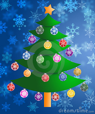Colorful Christmas Tree Snowflakes Background