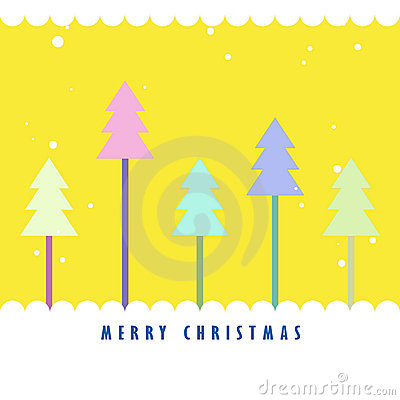 Colorful Christmas tree with yellow background