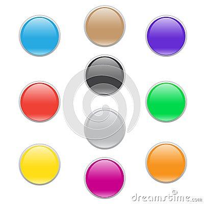 Colorful Circle Glass Web Icon Button Set
