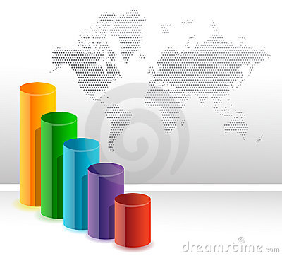 Colorful circular business bar graph background