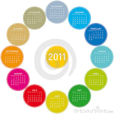 Colorful Circular Calendar 2011