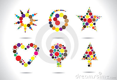 Colorful circular shapes arranged to form symbols