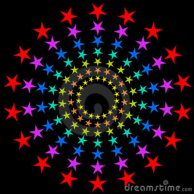 Colorful circular stars.