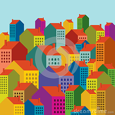 Colorful city landscape