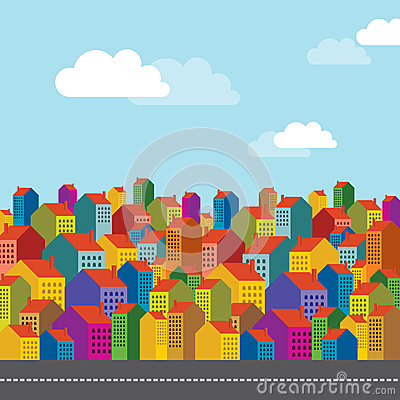 Colorful city landscape