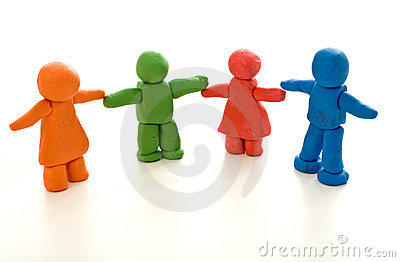 Colorful clay people - unity in diversity concept