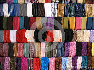 Colorful Cloth Samples in Lebanese Souk