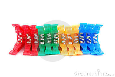 Colorful clothes pegs or pins