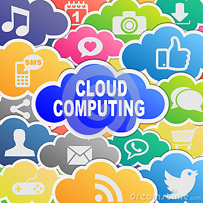 Colorful cloud computing applications background