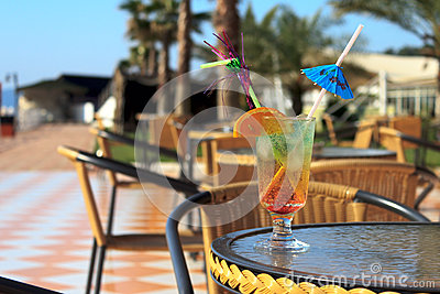 Colorful cocktail with umbrella