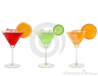 Colorful cocktails isolated on white