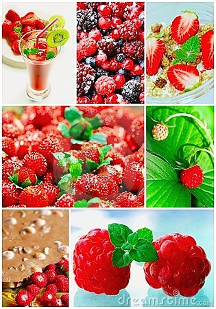 Colorful collage healthy fruit