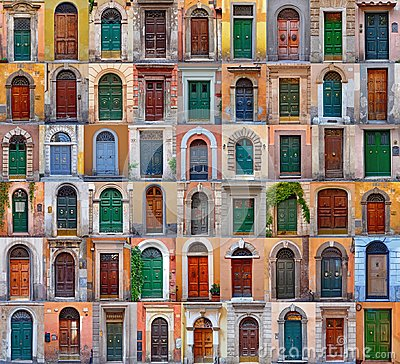 Free Colorful Collage Made Of Doors  From Rome Stock Photos - 101498763