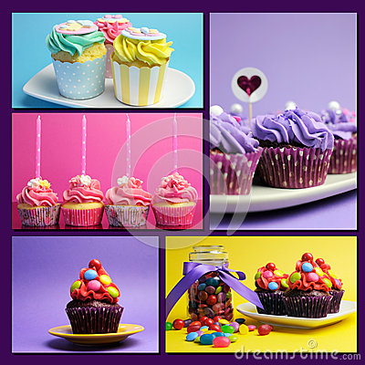 Free Colorful Collage Of Bright Color Cupcakes Stock Photo - 40698900