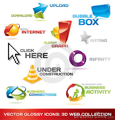 Free Colorful Collection Of 3d Web Icons Stock Photography - 13343702