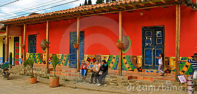 Colorful colonial house, Raquira, Colombia Editorial Image