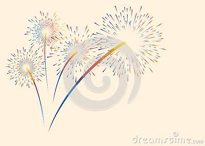 Colorful color fireworks. Vector illustration for Christmas, new year, anniversary and other holidays. Place for text. Vector Illustration