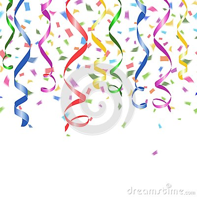 Free Colorful Confetti And Twirled Party Streamers Stock Images - 39556994