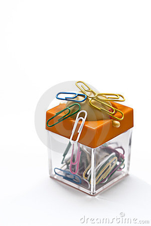 Free Colorful Container For Paper Clips Stock Photography - 24168372