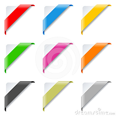 Free Colorful Corner Ribbons Set Stock Photo - 24428330