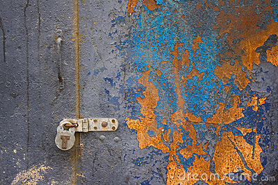 Colorful corroded metal door