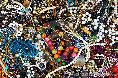 Colorful costume jewellery background