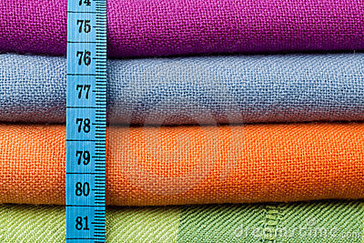 Colorful cotton cloth with measuring tape