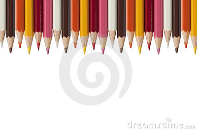 Colorful crayon as white background