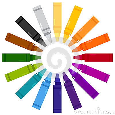 Colorful crayons in circle