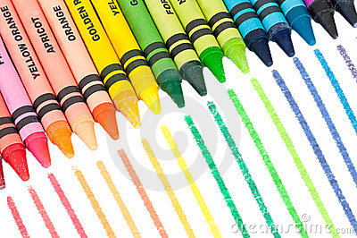 Colorful Crayons in a Slanted Row