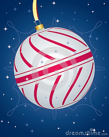 Colorful Cristmas Card With Striped Bauble
