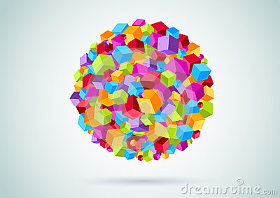 Colorful cubes form a circle