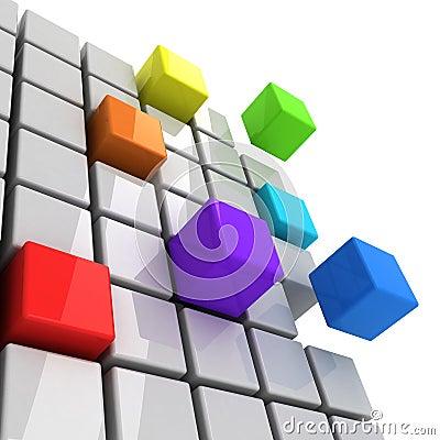 Colorful cubes spectrum concept