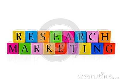 Colorful cubes with text RESEARCH MARKETING Stock Photo