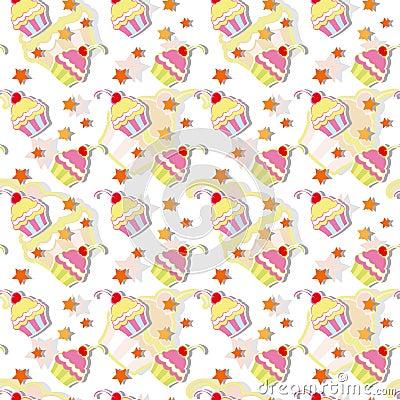 Colorful Cupcake Seamless Pattern