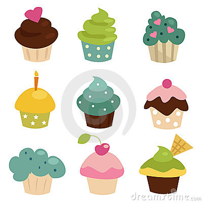 Free Colorful Cupcake Set Stock Photography - 18302792