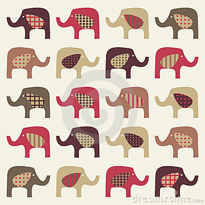 Colorful cute elephants background