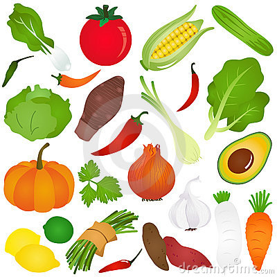 Colorful Cute vector Icons :  Fruits, vegetable, f