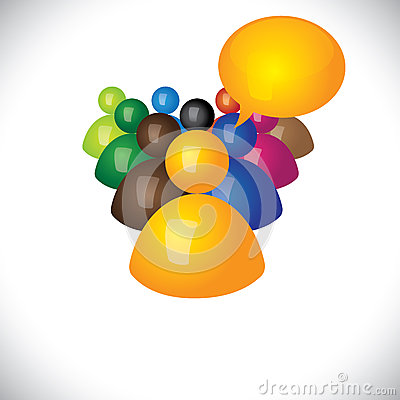 Colorful 3d icons or signs of manager talking to diverse team