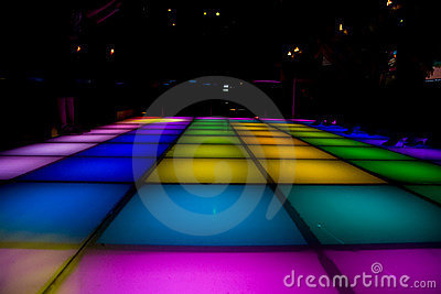 Colorful dance disco floor lighting