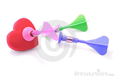 Colorful darts and love heart