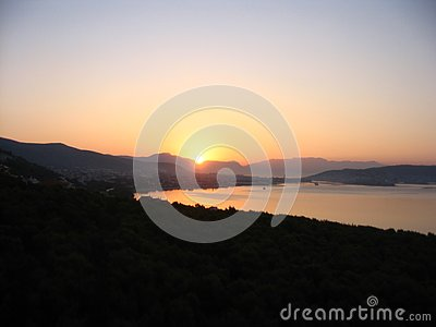 Colorful dawning at the Adriatic coast Stock Photo