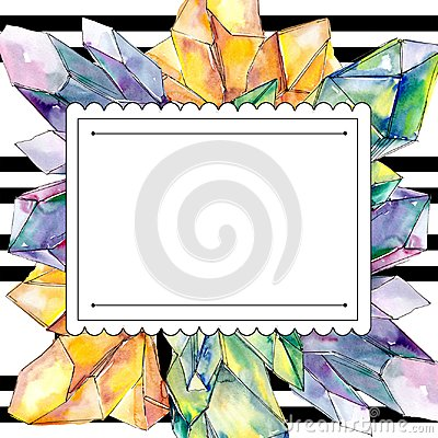Free Colorful Diamond Rock Jewelry Mineral. Frame Border Ornament Square. Stock Photos - 123764303