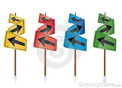 Colorful directional signposts