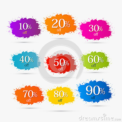 Free Colorful Discount Labels, Stains, Splashes Royalty Free Stock Photography - 36501967