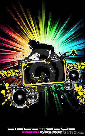 Free Colorful DJ Disco Flyer With Rainbow Colours Royalty Free Stock Images - 16539259
