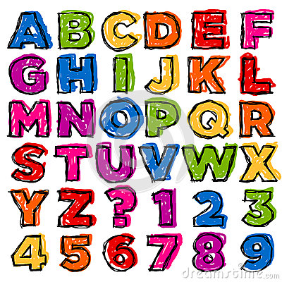Free Colorful Doodle Alphabet And Numbers Stock Photos - 28423623