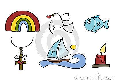 Colorful doodle set: Religious symbols