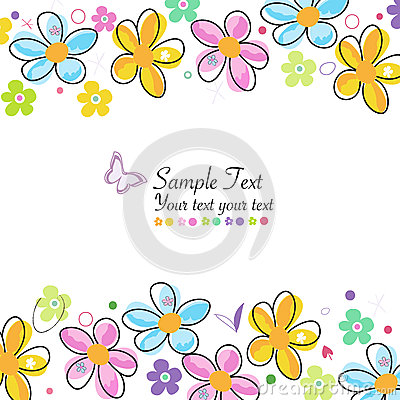 Free Colorful Doodle Spring Flowers Frame Greeting Card Stock Images - 51927894